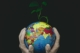 Earth Globe held by gloved hands with green plant sprouting
