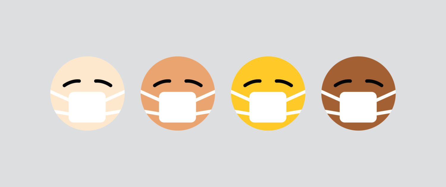 multi-racial Emoji faces with mask